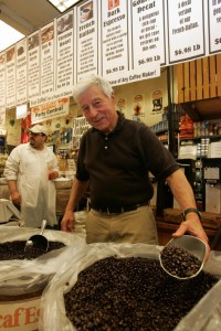 Saul Zabar with Zabar's coffee, which is roasted in-house.